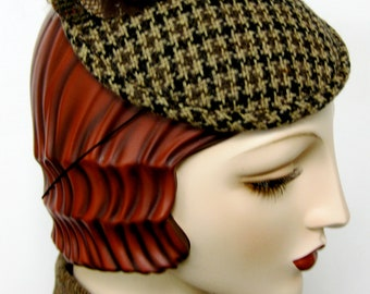 ON SALE/ Houndstooth Feather Flower Fascinator