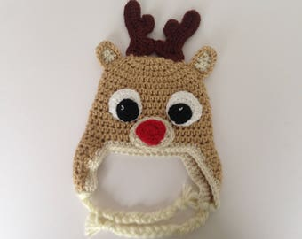 Crochet reindeer earflap hat. Newborn- adult sizes. Rudolph trapper hat. Christmas Hat.