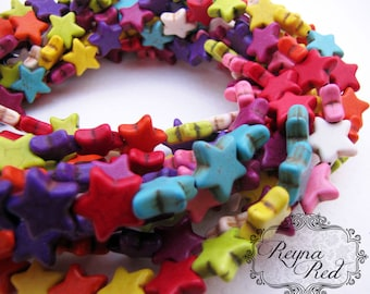 Dyed Howlite Star Beads, Mixed Color, Day of the Dead, rainbow, boho, celestial, metaphysical stars, howlite- reynaredsupplies
