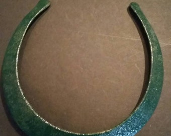 Vintage Emerald Green Enamel Necklace Handmade Brass Choker Boho Jewelry