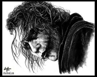 "Print 11x14"" - The Joker - Batman Dark Knight Heath Ledger Christian Bale Dark Art Super Villian Hero Lowbrow Art Pop Gotham City Clown"