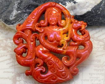 Carved Red Jade Pendant, Old Dragon Girl Jade Pendant Double Face Animal Jade Necklace wholesale gemstone bead handmade jewelry supplies 11