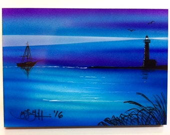 """Airbrushed Magnet Lighthouse Sailboat Boat 5"""" x 7"""" by artist Teresa Griffin"""
