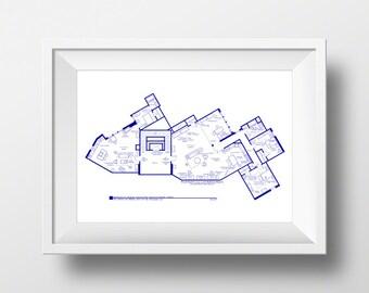 The Big Bang Theory - Art Print - TV Show Apartment Floor Plan - Minimalist Wall Art - BluePrint for Home of Sheldon, Leonard and Penny