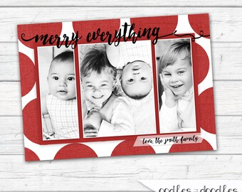 Christmas Card,  3 Photos,  Holiday Photo Card, Christmas Photo Card, Merry Everything, Red Polkadots, Printable Digital File or Printed