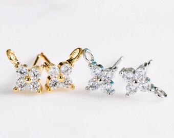 2pcs cz cubic zirconia mini small flower ear studs earrings,flower jewelry,bridesmaid gift,cz wedding earrings,womens cz earrings