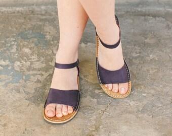Women Sandals, Women's Shoes, Peep Toe Sandals, Leather Sandals, Strappy Sandals,  Women Leather Sandals, Summer Flats, Aubergine Sandals