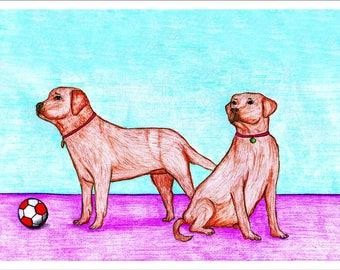 Downloadable Print, Dogs, Color Pencils