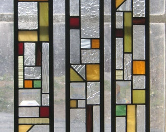 "Stained Glass Window Panel--3 Cabinet Door Inserts 3 3/8"" x 17 3/8"""