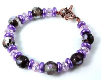 Purple Confetti Glass and Crystal Bracelet