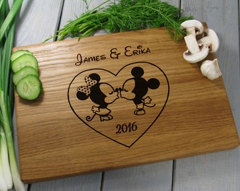 Mickey Mouse Cutting Board, Kissing Mickey & Minnie, Personalized Disney Cutting Board, Wedding Gift, Anniversary Gift