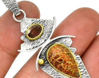 "Dinosaur Bone Fossil & Garnet Pendant  925 Sterling Silver 2 1/8"" Jewelry P2"