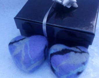 Merino Felted Soap, Heart Duo. Olive and Hempseed Oil with Petals Essential Oil Blend. Palm & SL Free.