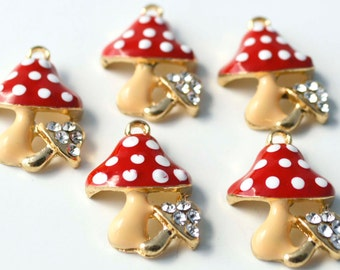5 PC Red Mushroom Clear Rhinestones Enamel Pendant Goldtone Plated Charms Alloy Jewelry Making Supplies 07516