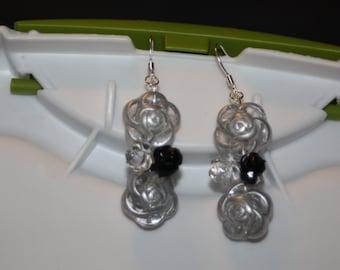 Double Grey Rose Earrings