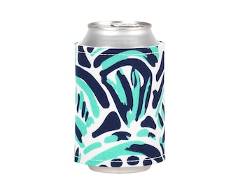 Monogram Drink Wrap Cozie Koozie, navy & teal