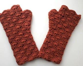 Crochet arm warmers- fingerless mitten - gloves -handschuhe