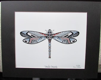"New  ""TOTEMPOLE DRAGONFLY"" by MW James  Limited Edition Art Print Signed & Numbered"