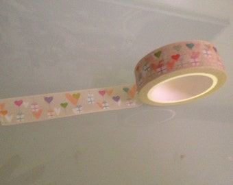 Washi tape hearts and balloons to use for decorating, gift wrapping, scrapbooking