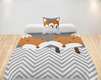 Fox Duvet Cover Kids Custom Bedding - Queen King Twin - Toddler Birthday Gift Girl Boy Cute Fox print Modern Woodland Bear Bedding Animals