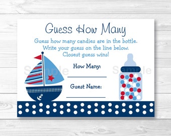 Cute Sailboat Guess How Many Baby Shower Game / Sailboat Baby Shower / Nautical Baby Shower / Candy Guessing Game / INSTANT DOWNLOAD A384