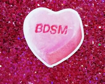 BDSM Conversation Heart 3.5X3.5 Sticker