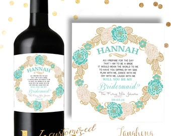 Bridesmaid Wine Label Maid of Honor Wine Label Bridesmaid Candle Label Maid of Honor Candle Label PRINTABLE