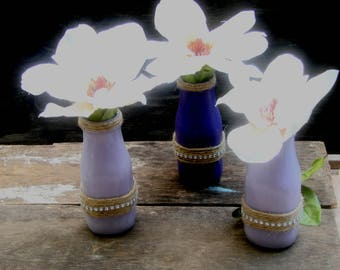 3 milk jars, Purple and Lavender with twine and bling, Wedding decorations, Vases, Home decor,