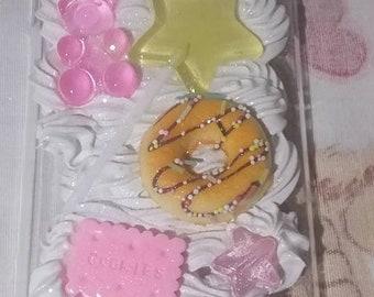 READY TO SHIP Kawaii Fairy Kei Doughnut Donut Pink Gummy Bear Star Wand Ice Cream Apple Iphone X Deco Case