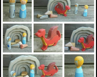 Princess Play Set - Knight and Dragon Toy - Wood Dragon and Cave - Dragon Treasure with Princess and Knight - Wood Princess - Open Ended Toy