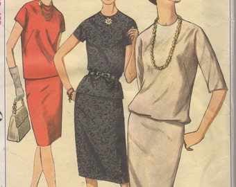 Bust 36-1964 Misses' Two-Piece Dress Simplicity 5709 Size 16