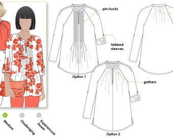 Faith Woven Top - Sizes 16, 18, 20 - Women's Sewing Pattern - Blouse / Top / Shirt Pattern by Style Arc