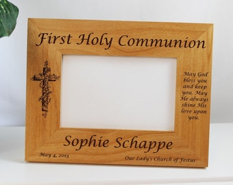 """First Communion, Christening, Baptism, Confirmation, Personalized Frame displays 4"""" x 6"""" photo"""