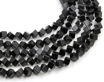 45 pcs of black agate square beads, faceted beads, loose beads