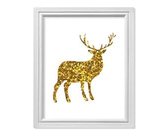 Christmas Reindeer, Reindeer Art, Gold Reindeer Wall Art, Deer Print, Deer Antlers, Gold Glitter Reindeer, Christmas Print, Christmas Art