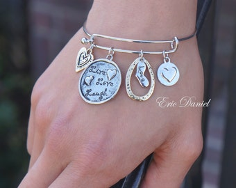 Love Theme Charm Bangle, Available in Silver and Gold, Love Bangle, Love Bracelet, Charm Bracelet, Love Charm