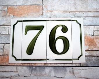Retro Ceramic House Number. Hand-made!