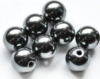"""Hematite, gemstone, beads, 7 mm / 0.275 """", 10pcs"""