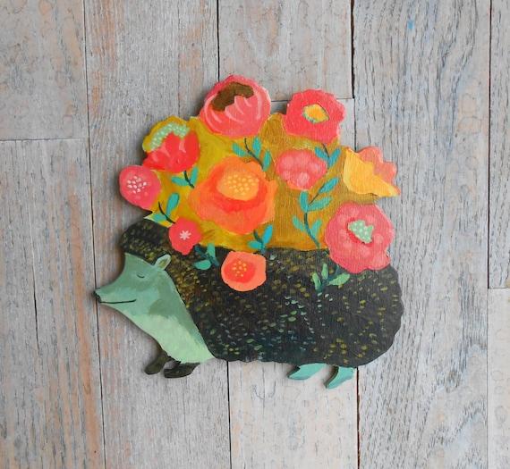 Wood hedgehog by Kimberly Hodges, hedgehog decor, hedgehog, woodland nursery art, hedgehog gift, hedgehog art, woodland baby shower