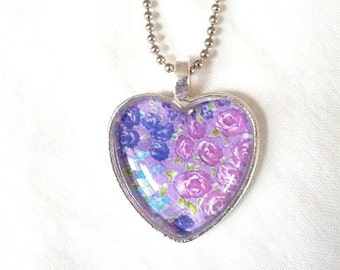 Lavender Floral Glass Heart Pendant. Lovingly Handmade in Brooklyn by Wishing Well Studio.