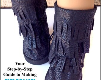 Pixie Faire Miche Design 18 inch Doll Shoe Pattern Fringe Boots for American Girl Dolls - PDF
