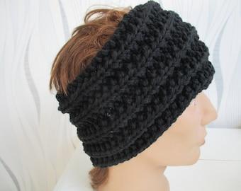 black headband, knitted headband wool earflap black, black headband, black headband, headband man headband men, father's day