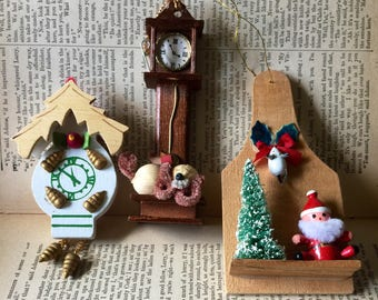 Christmas Wooden Assortment Brush Tree Clocks Santa Dog Xmas Ornament