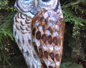Hand Carved Bird Ornament (Barred Owl)