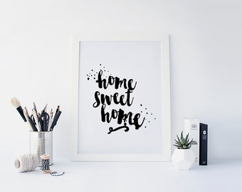 """PRINTABLE Art """"Home Sweet Home"""" Typography Art Print Black and White Typography Poster Be our Guest Welcome Sign"""