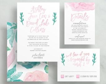 Desert Floral Watercolor Wedding Invites / Pink Aqua Blue Cactus / Semi-Custom Wedding Invitation Suite / Printed Invitation Suite