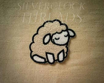 Sew-on patch - Sleepy Sheep cute creature embroidery - 6 cm / 2 in