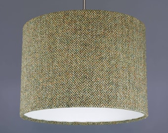Barley Herringbone Harris Tweed Wool Fabric Drum Lampshade Pendant