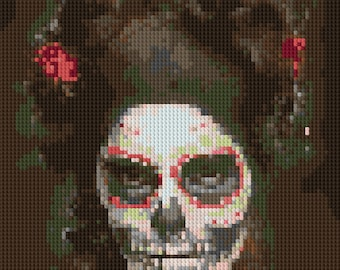Sugar Skull painted model portrait counted Cross Stitch Pattern Day of the Dead