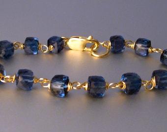 18k London Blue Topaz Cube Bracelet